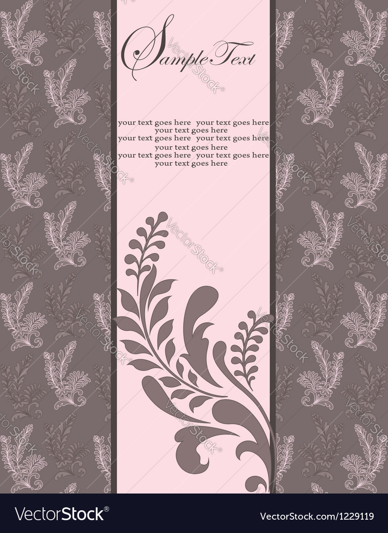 Floral vintage invitation vector | Price: 1 Credit (USD $1)