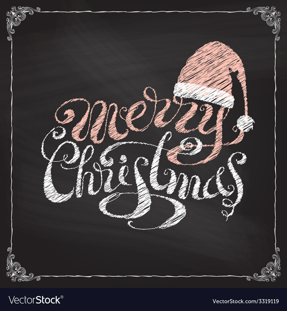 Hand-written merry christmas on blackboard vector | Price: 1 Credit (USD $1)