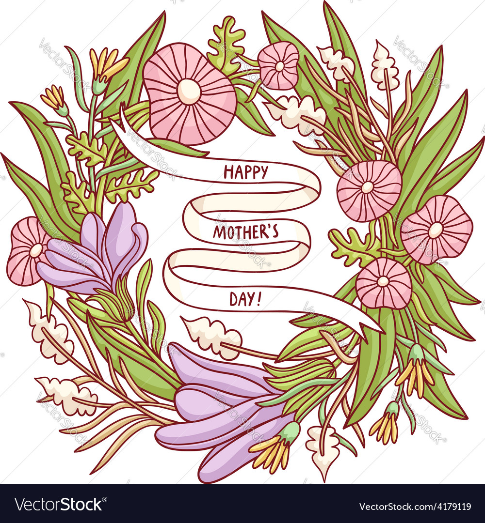 Happy mothers day beautiful floral wreath greeting vector | Price: 1 Credit (USD $1)