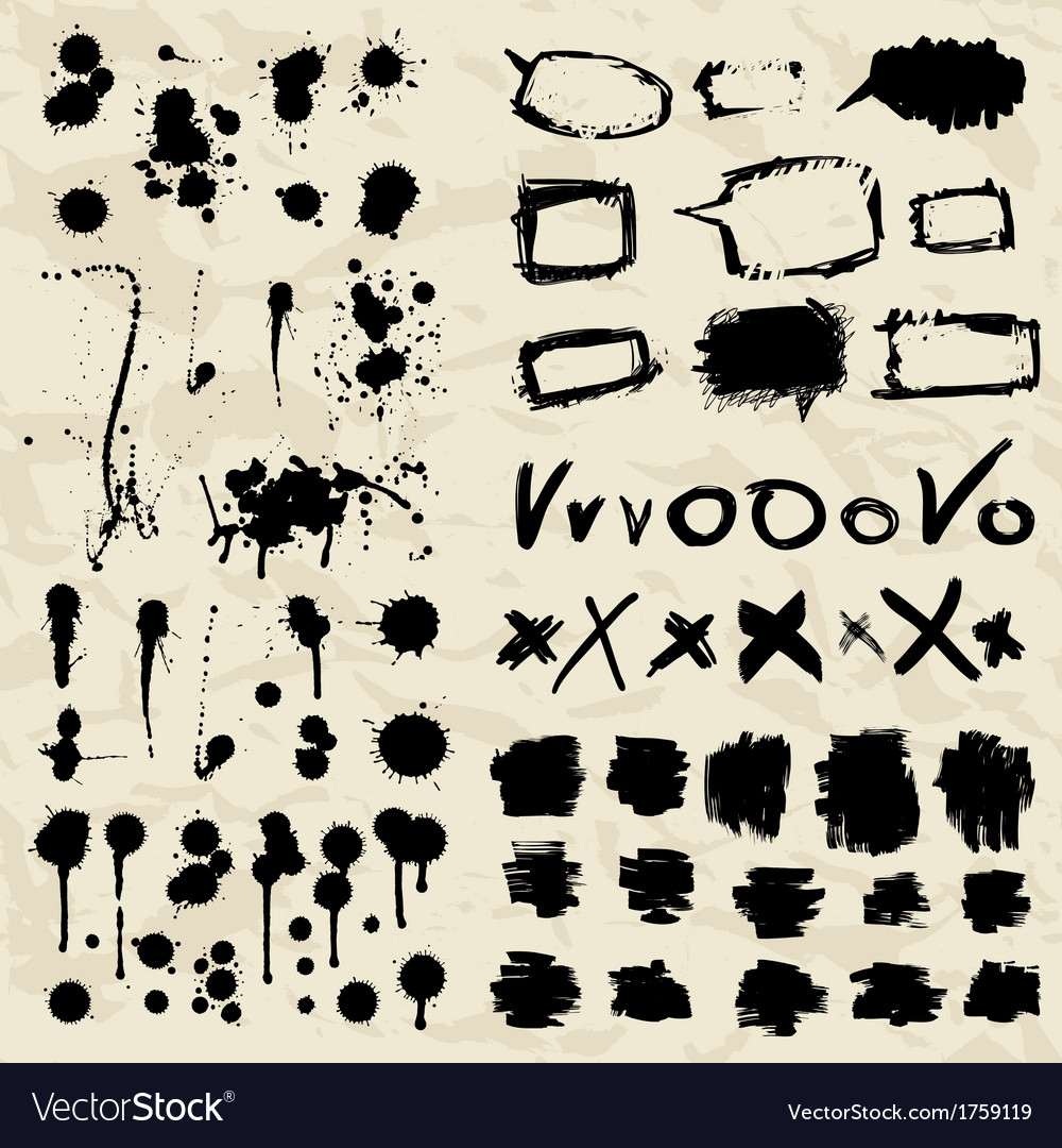 Ink splatters grunge design elements collection vector | Price: 1 Credit (USD $1)
