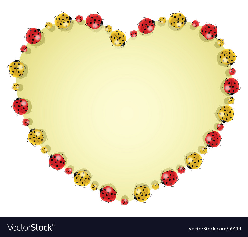 Ladybugs forming heart vector | Price: 1 Credit (USD $1)