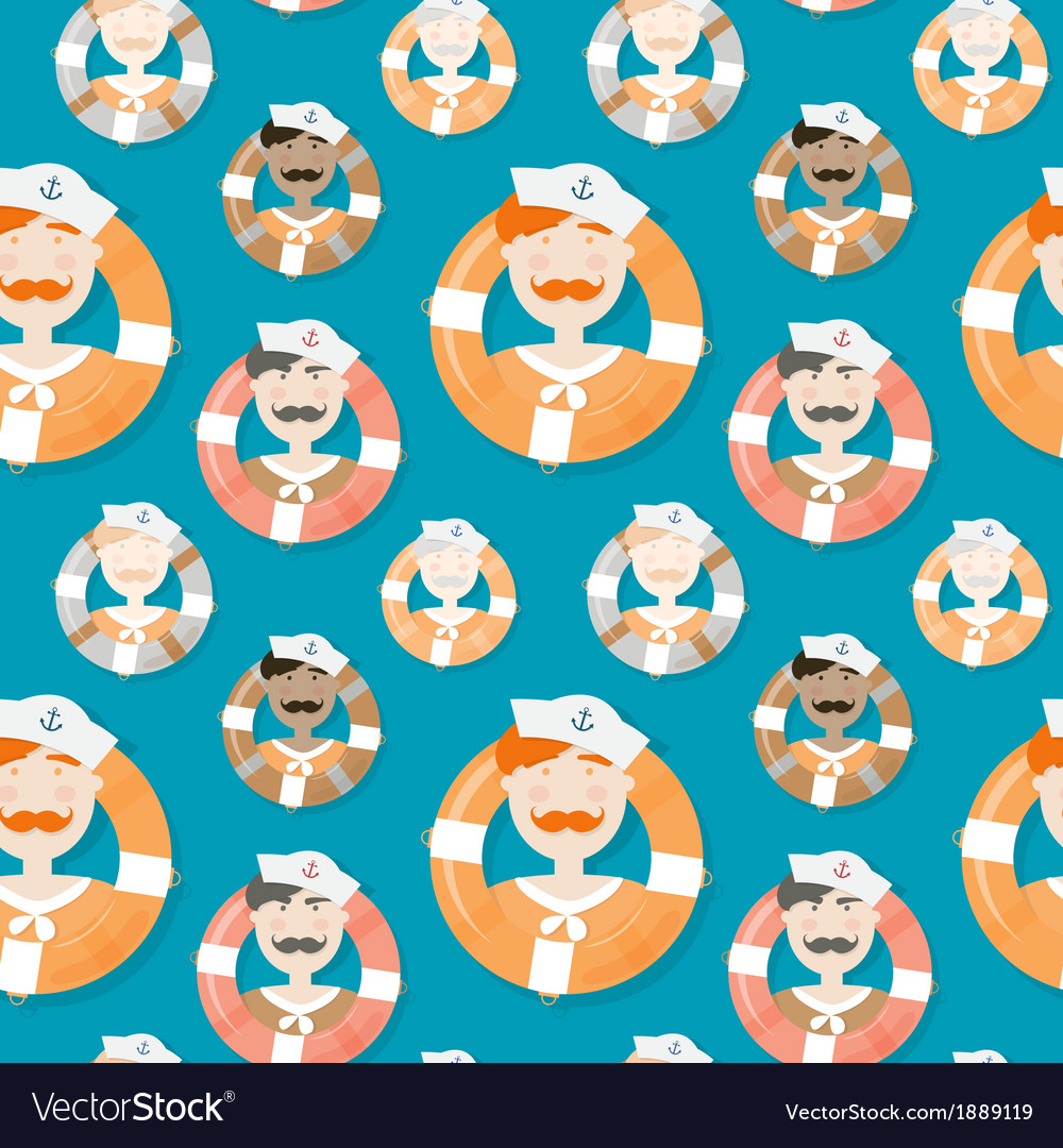 Sailors of different ethnicities seamless pattern vector | Price: 1 Credit (USD $1)