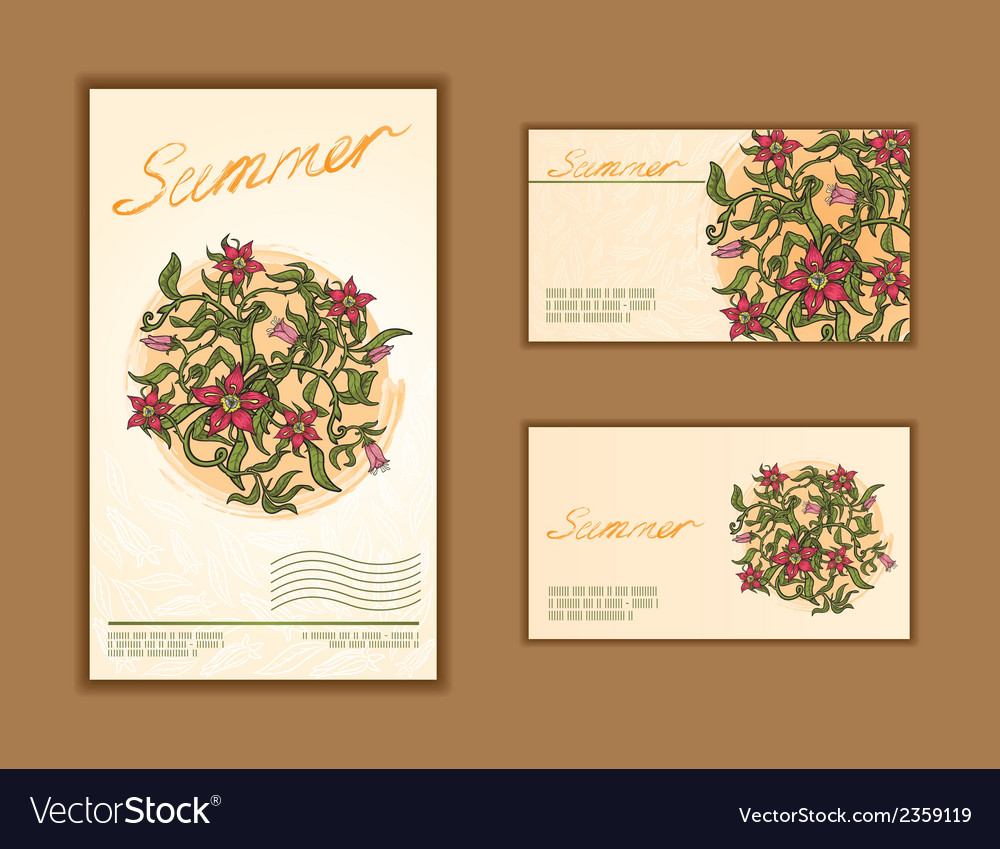 Set of business cards with floral design vector   Price: 1 Credit (USD $1)