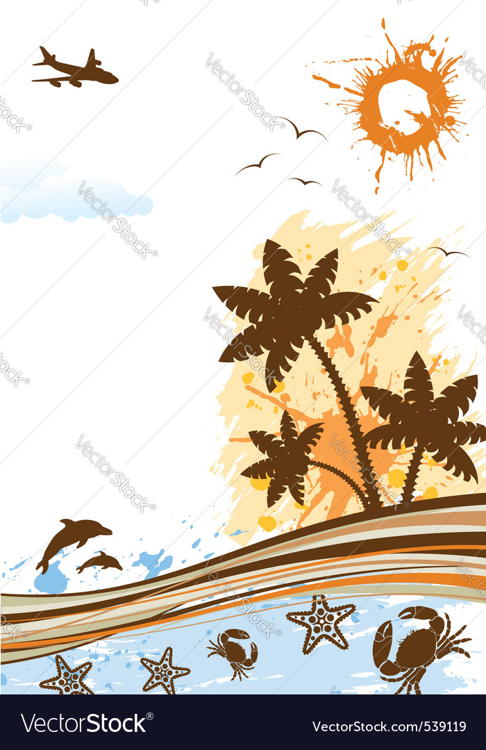 Summer frame with palm tree dolphin crab starfish vector | Price: 1 Credit (USD $1)