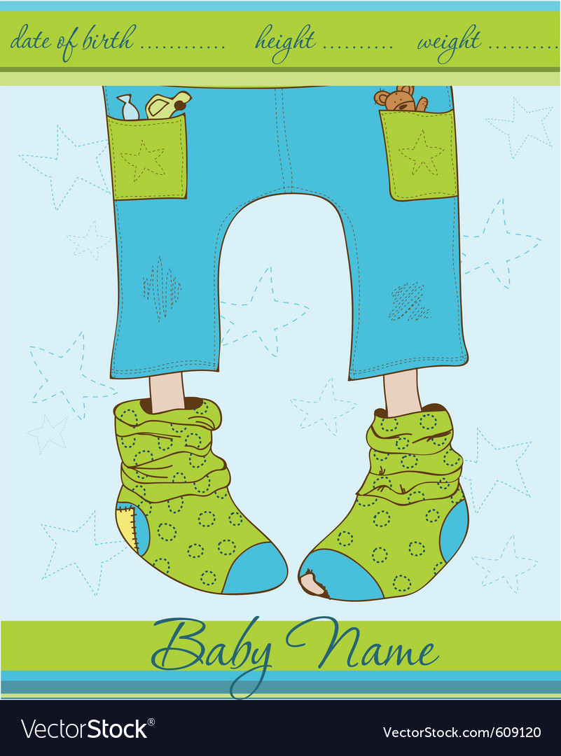 Baby boy arrival announcement card with funny sock vector | Price: 1 Credit (USD $1)