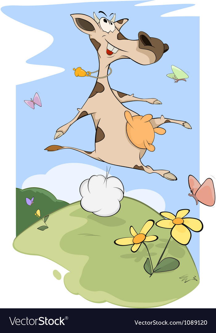 Cheerful cow on a meadow vector | Price: 1 Credit (USD $1)