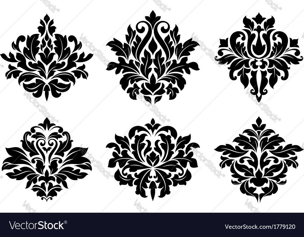 Decorative floral elements and embellishments vector | Price: 1 Credit (USD $1)