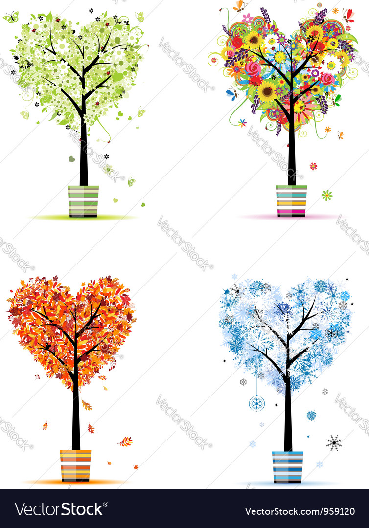 Four seasons - spring summer autumn winter trees vector | Price: 1 Credit (USD $1)