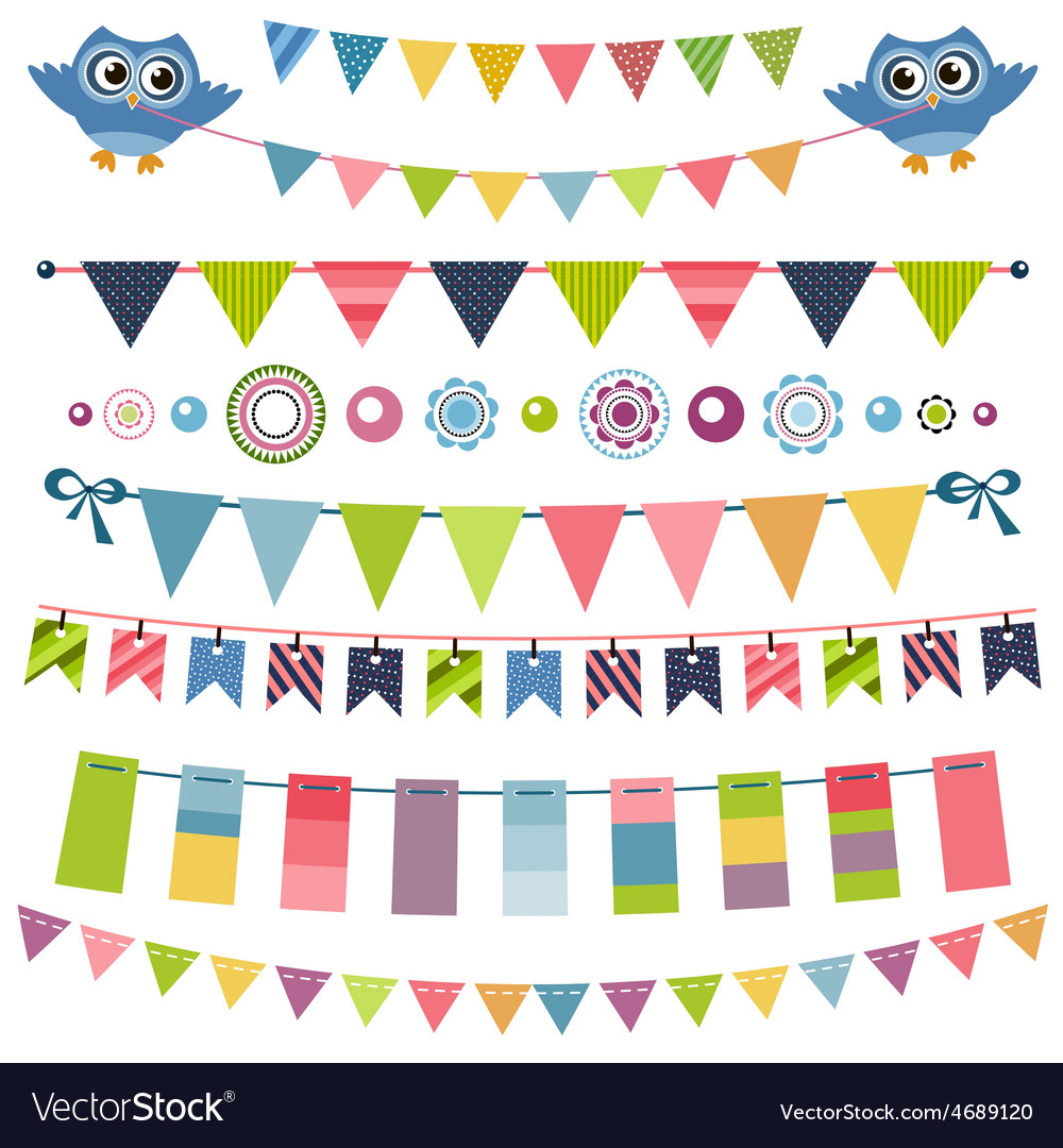 Garland and bunting set vector | Price: 1 Credit (USD $1)