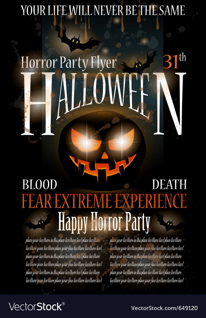 Halloween horror party flyer vector | Price: 3 Credit (USD $3)