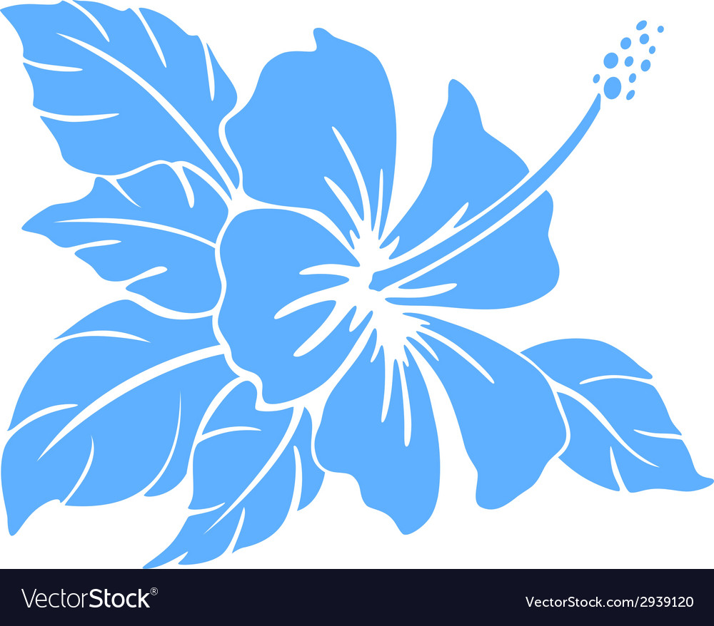 Hibiscus flower silhouette vector | Price: 1 Credit (USD $1)