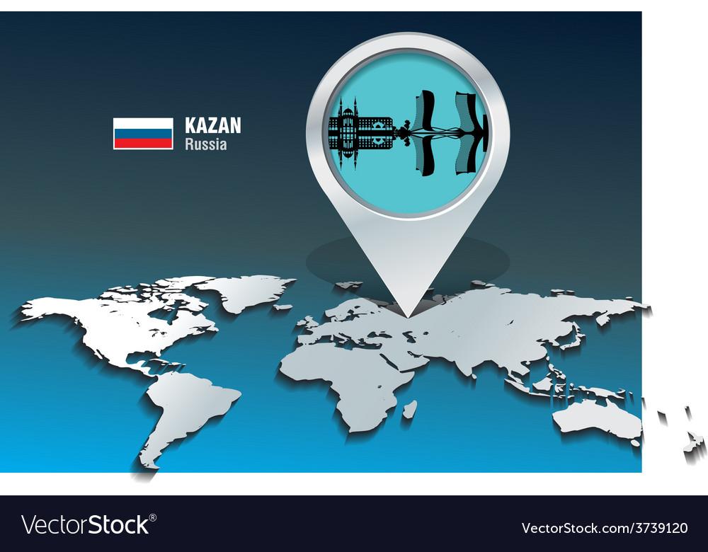 Map pin with kazan skyline vector | Price: 1 Credit (USD $1)
