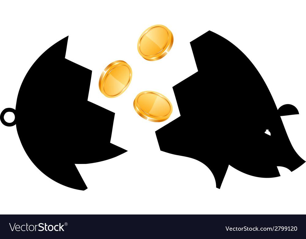 Money saving bank break vector | Price: 1 Credit (USD $1)