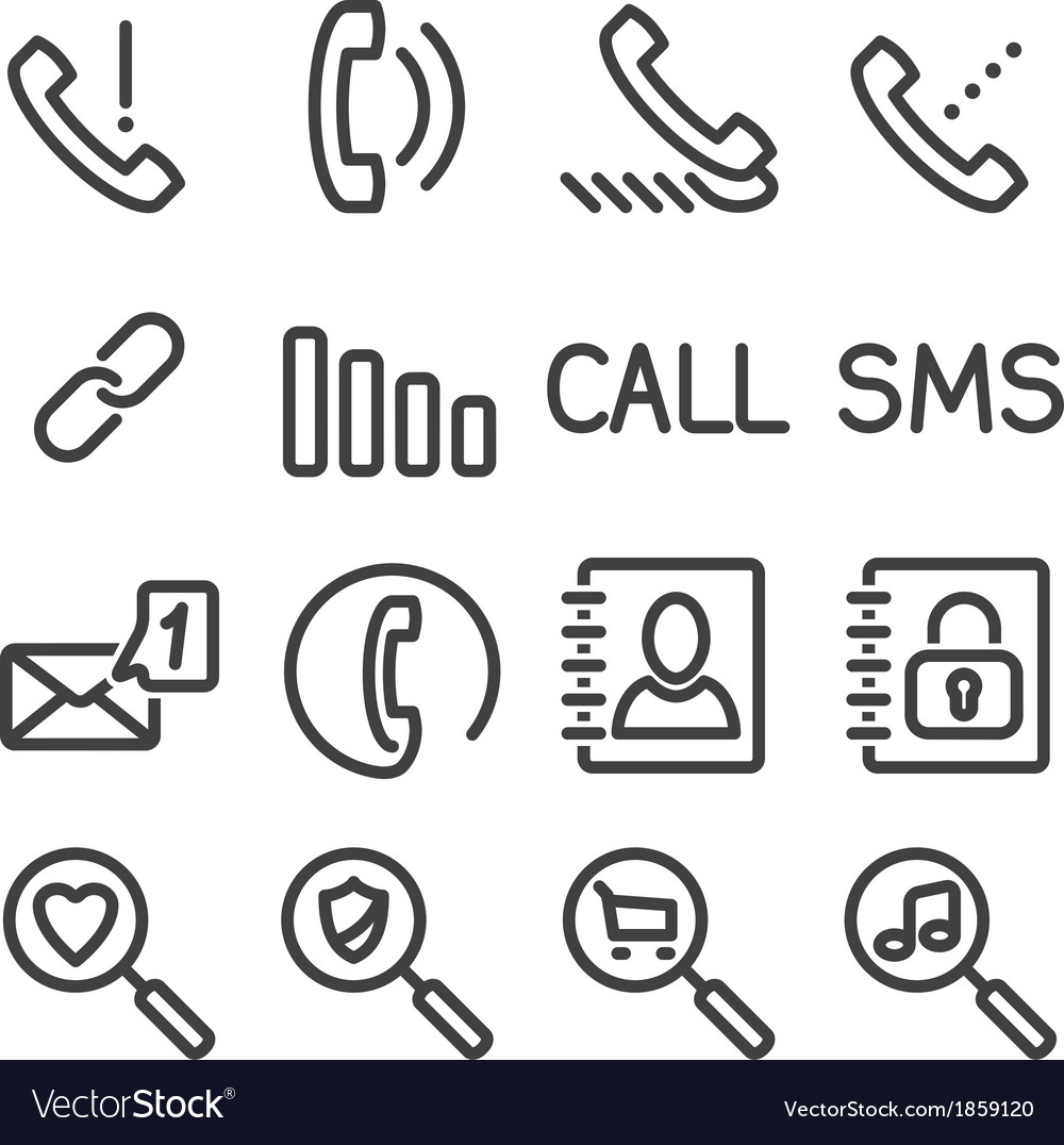 Set phone icon vector | Price: 1 Credit (USD $1)