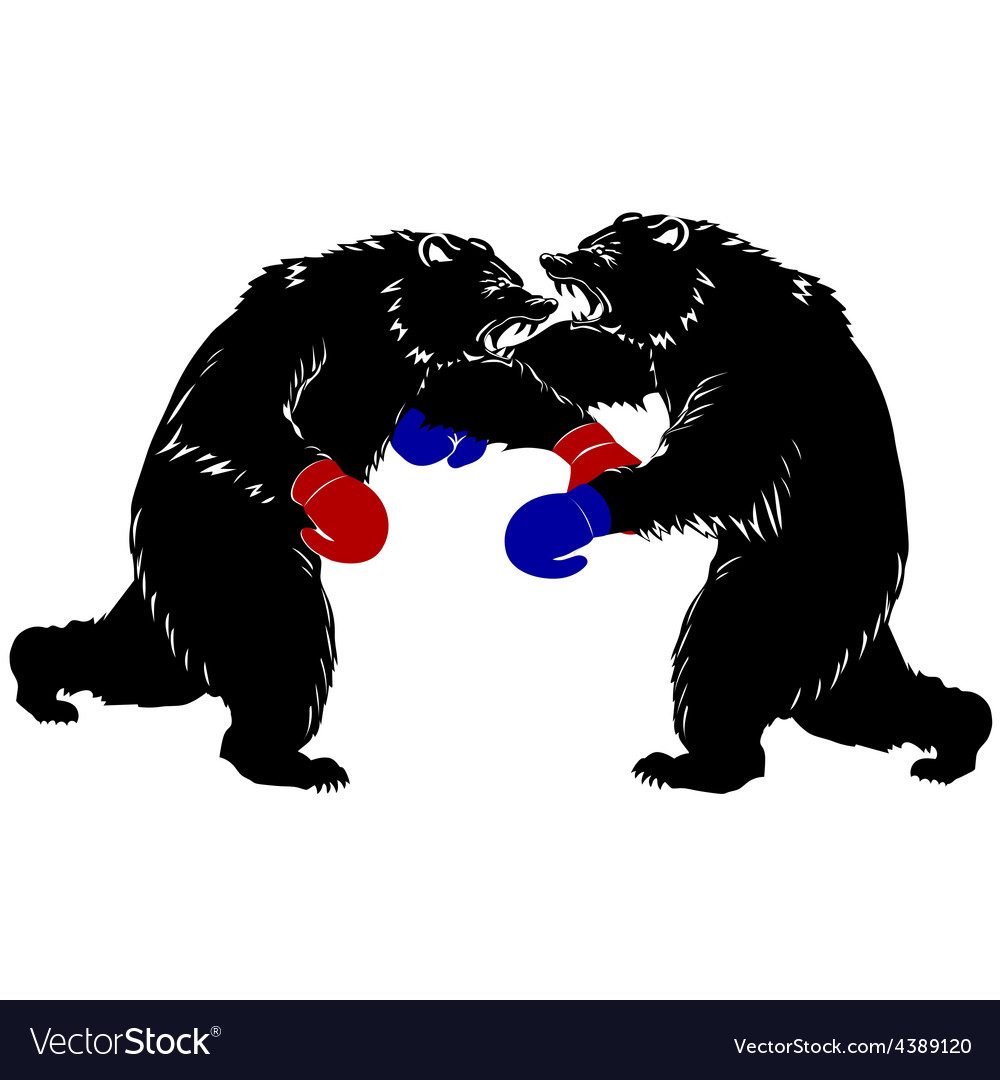 Two bear fight silhouette boxer vector | Price: 1 Credit (USD $1)