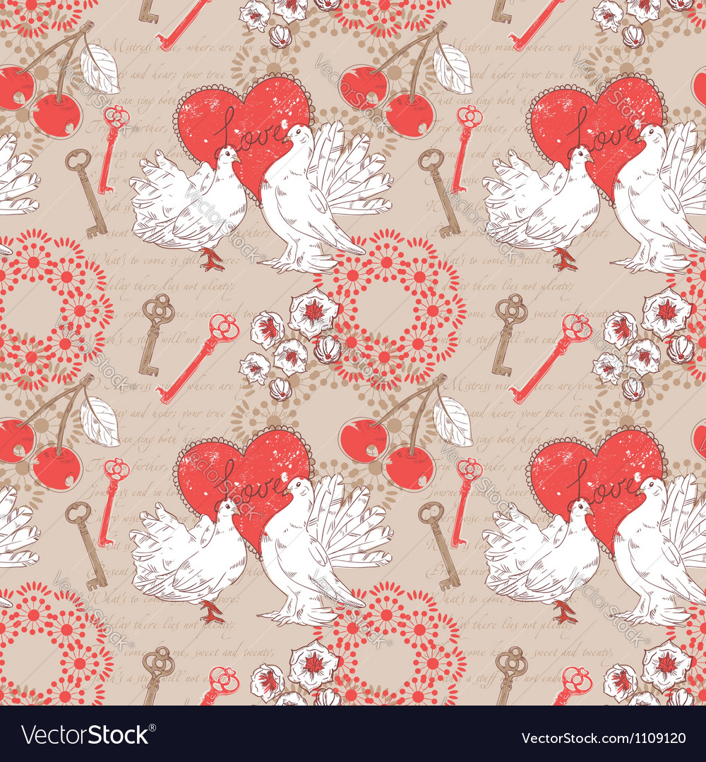 Valentine romantic seamless pattern with hearts vector | Price: 1 Credit (USD $1)