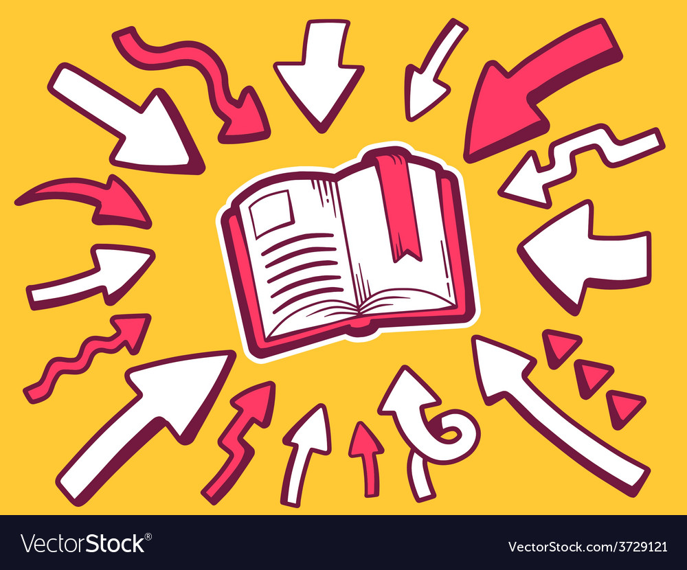 Arrows point to icon of open book on oran vector | Price: 1 Credit (USD $1)