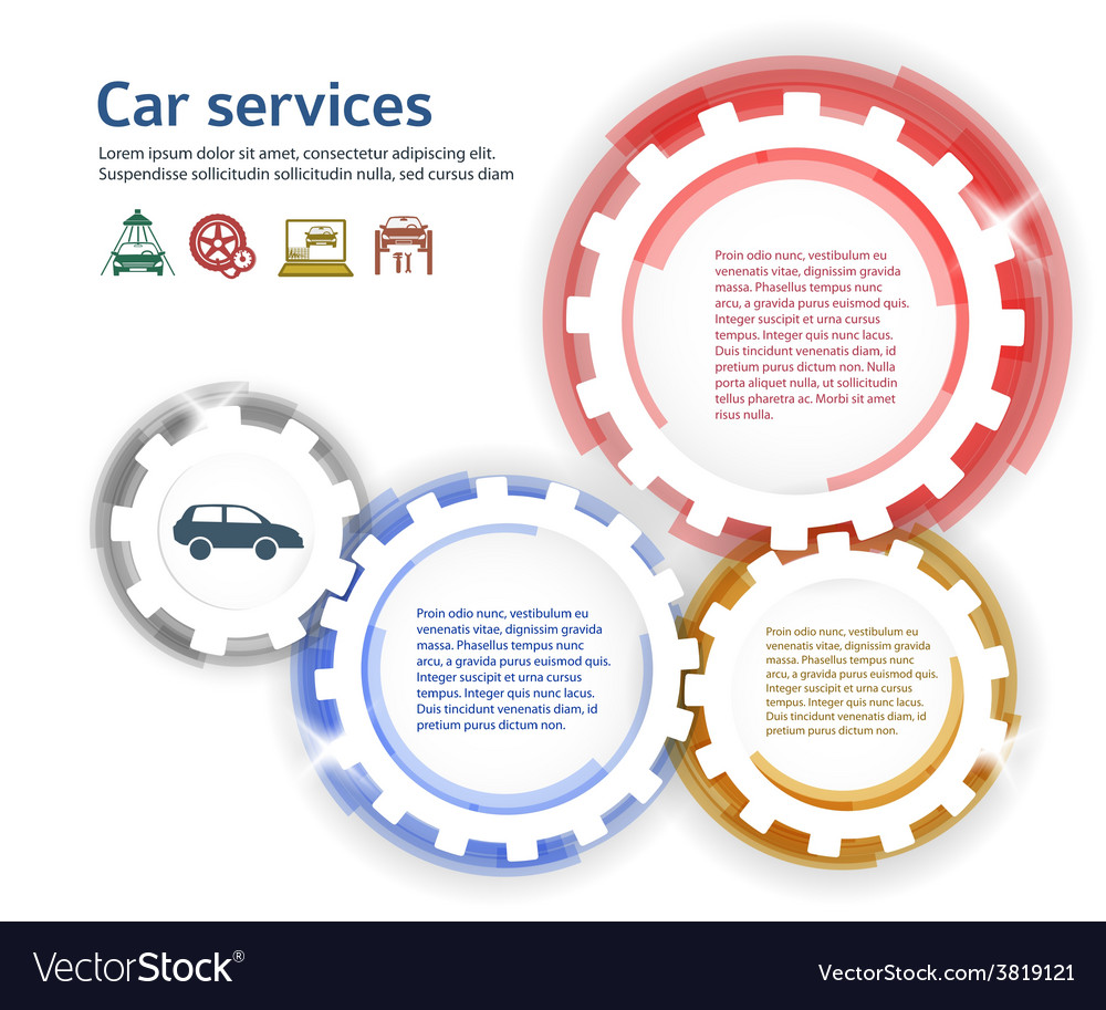 Car service brush effect it gears white background vector | Price: 1 Credit (USD $1)
