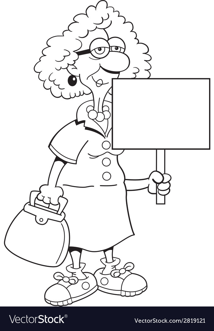Cartoon senior citizen lady with sign vector | Price: 1 Credit (USD $1)