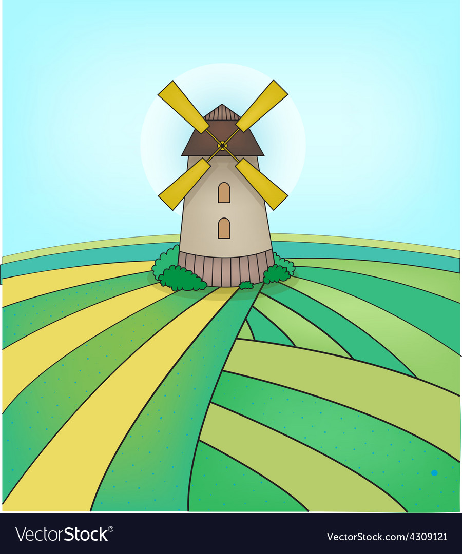 Mill on the field vector | Price: 1 Credit (USD $1)