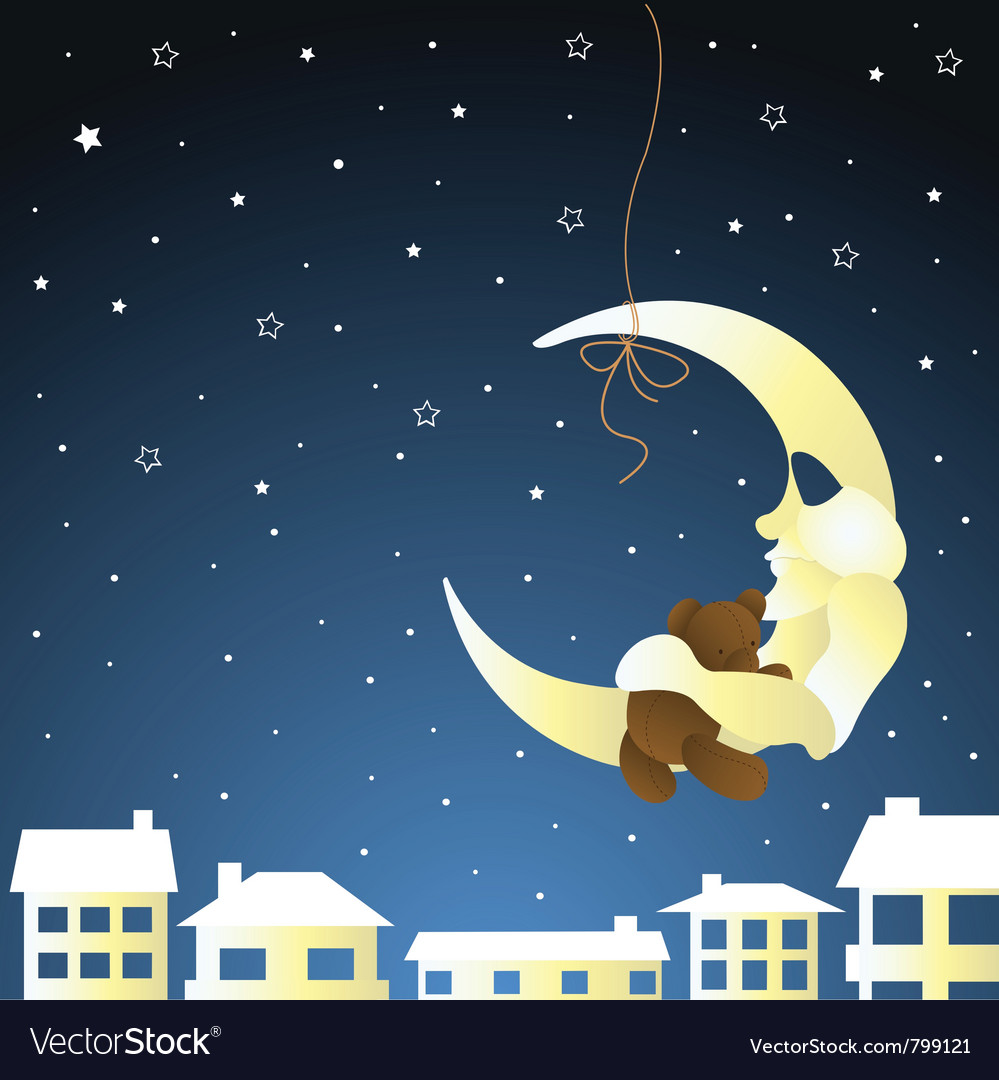 Moon and teddy baby greeting card vector | Price: 1 Credit (USD $1)