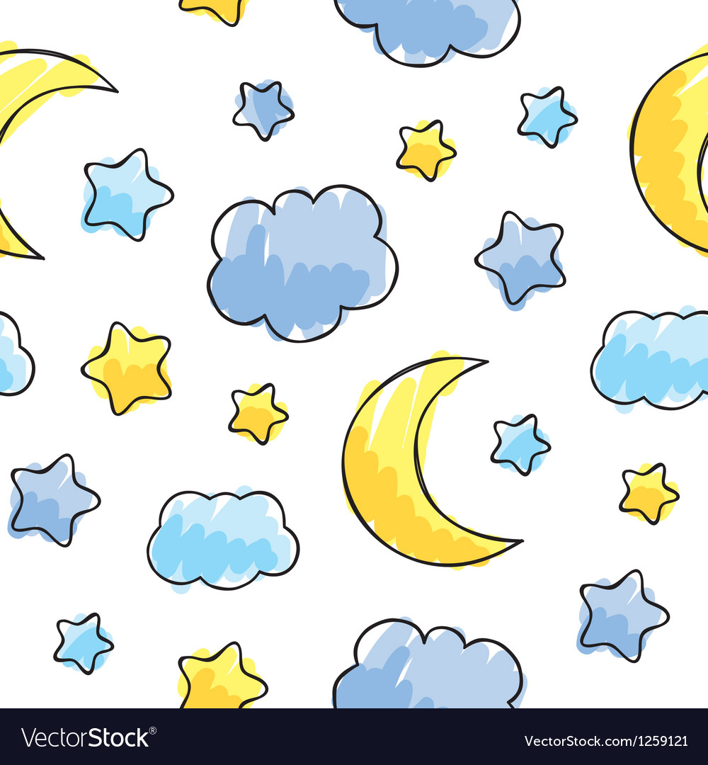 Pattern with night sky elements vector | Price: 1 Credit (USD $1)