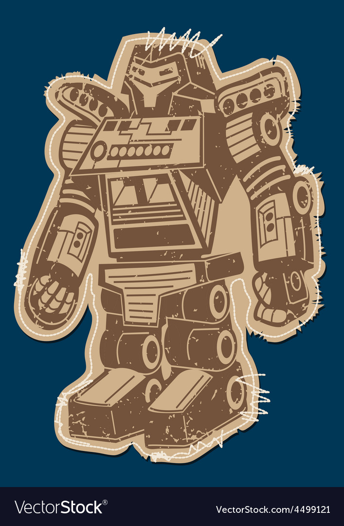 Robot patch with brown print on a navy background vector | Price: 1 Credit (USD $1)