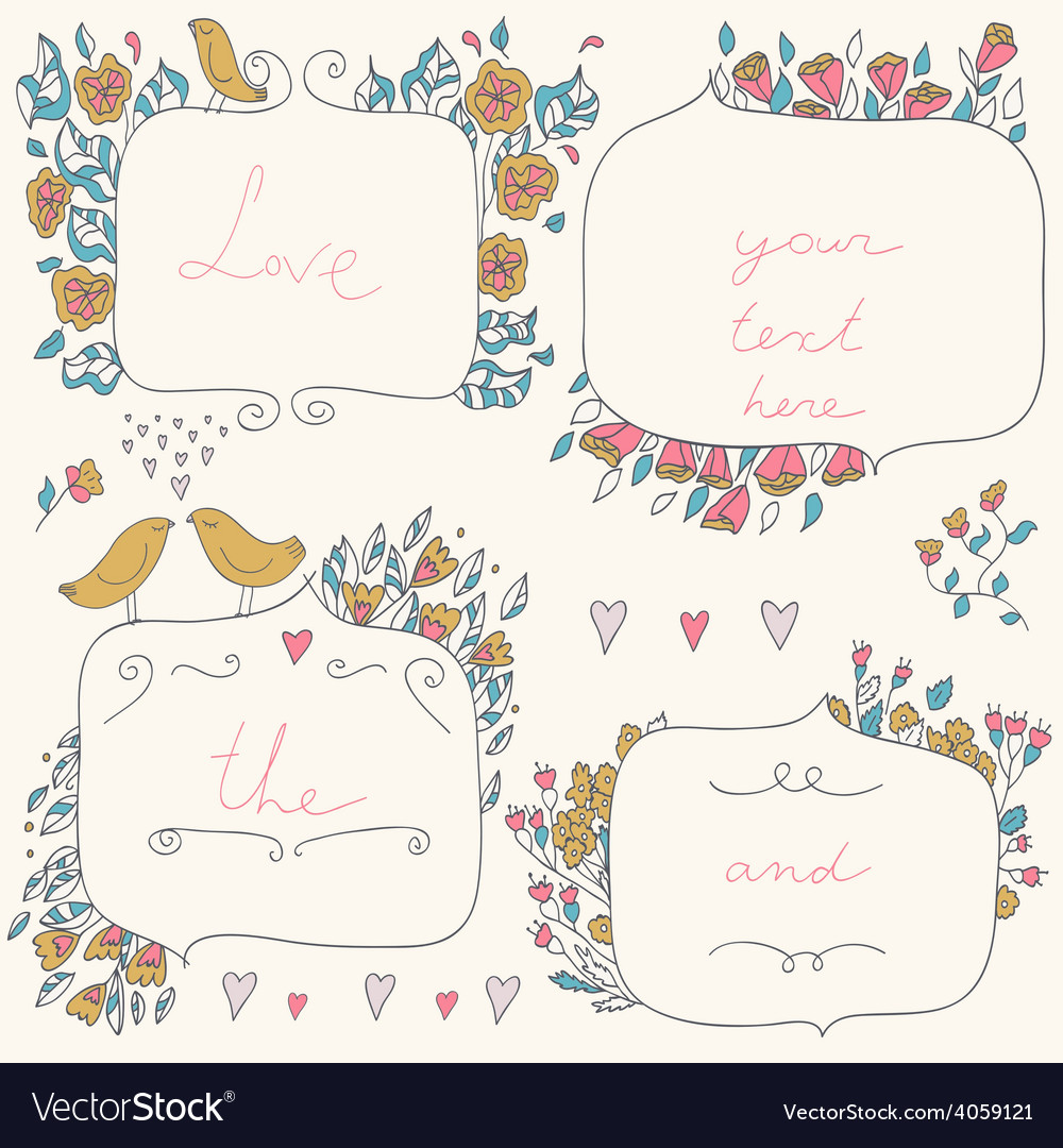 Romantic set of floral frames with couple vector   Price: 1 Credit (USD $1)