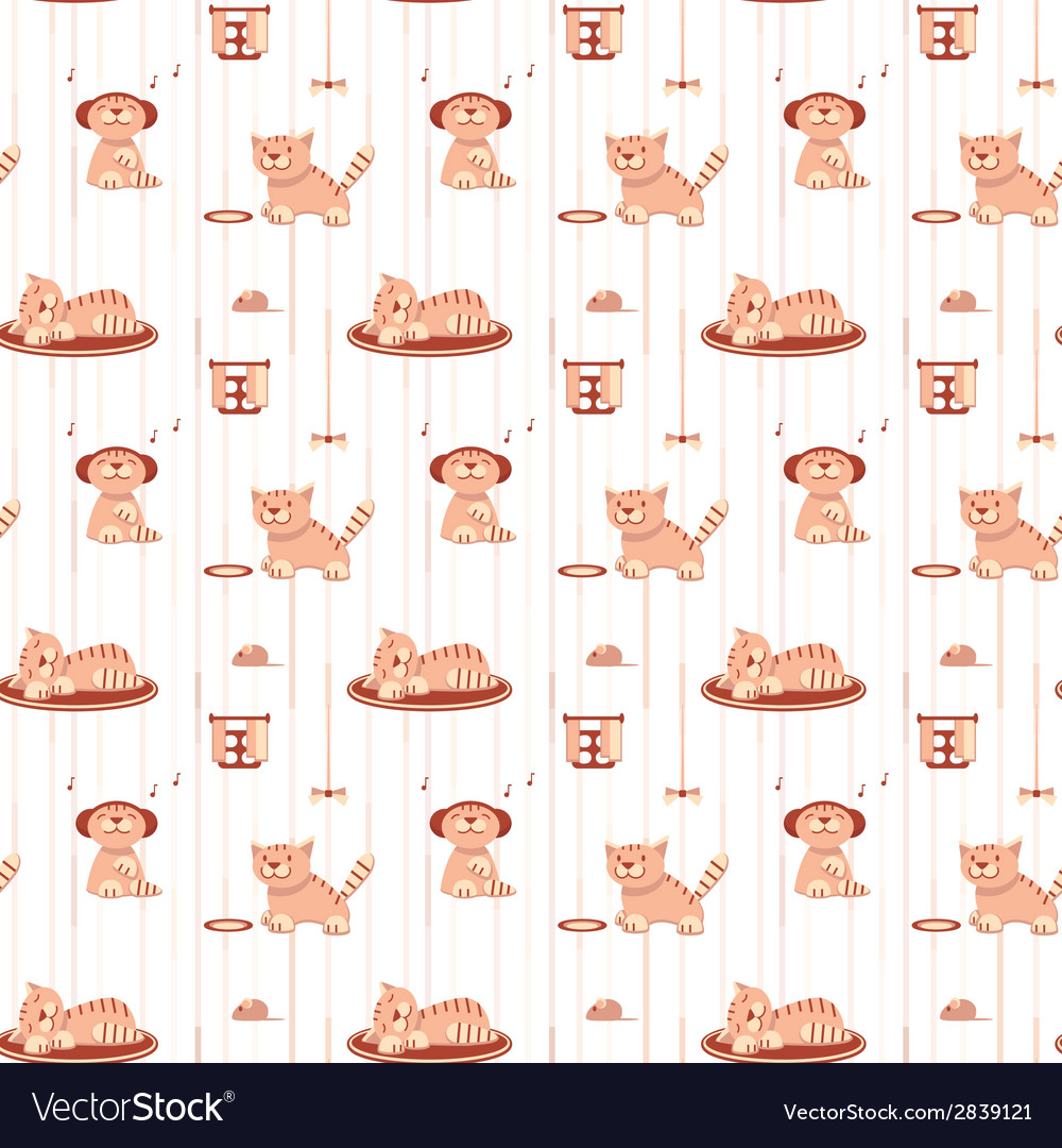 Seamless pattern with funny cats in flat style vector | Price: 1 Credit (USD $1)