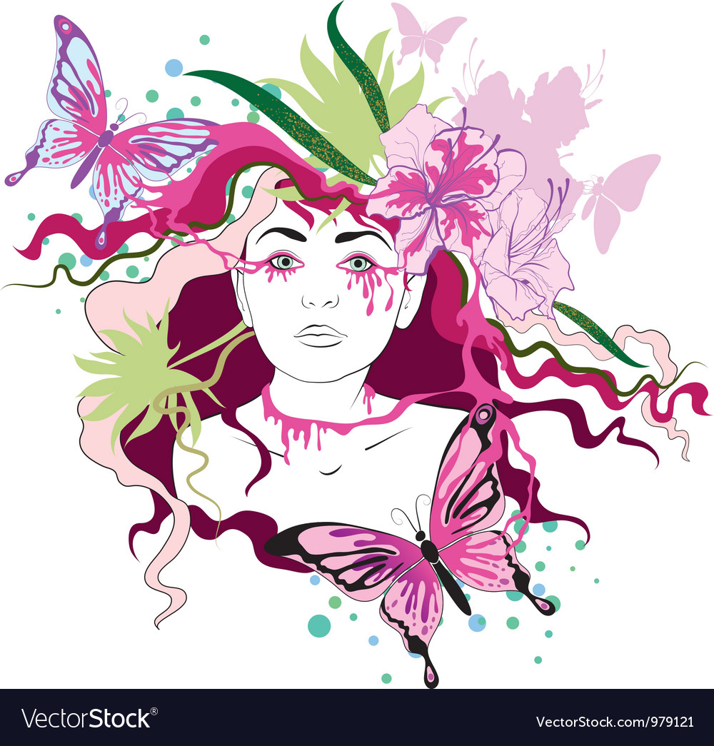 Spring portrait of woman vector | Price: 1 Credit (USD $1)