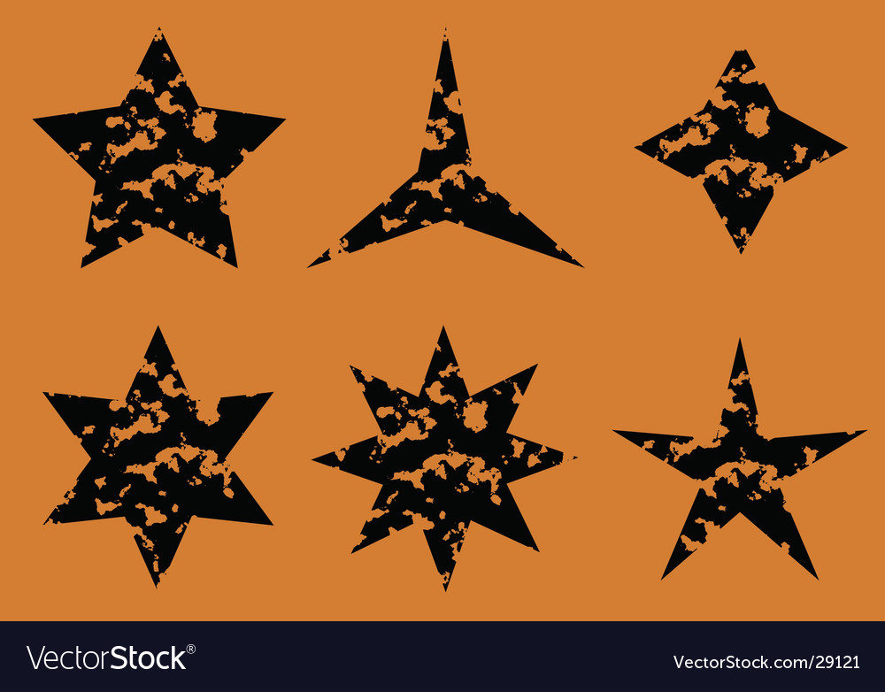 Stars set on orange background vector | Price: 1 Credit (USD $1)