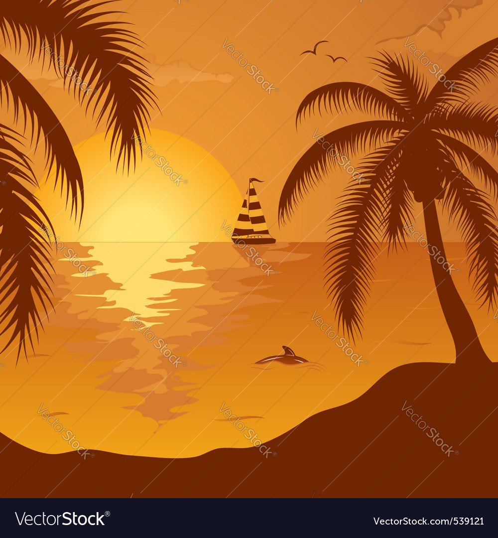 Summer background with palm tree dolphin and yacht vector | Price: 1 Credit (USD $1)