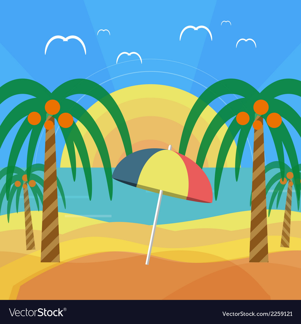 Tropical beach with palm trees and umbrella vector | Price: 1 Credit (USD $1)