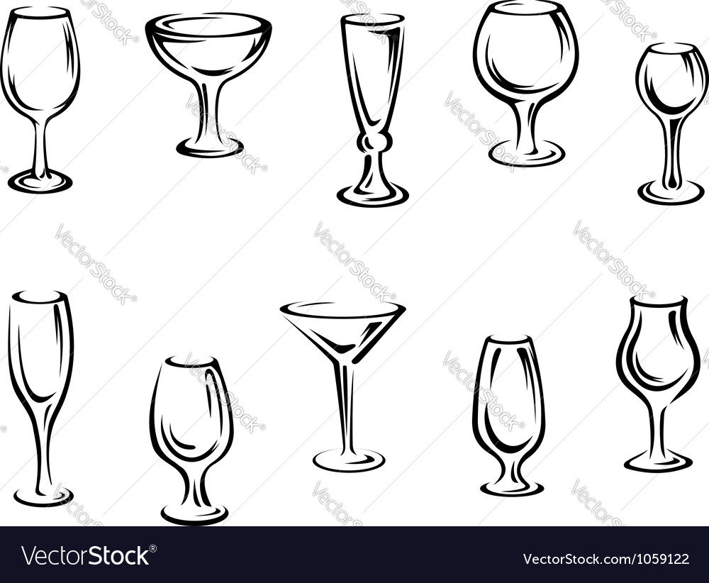 Alcohol and drink glasses vector | Price: 1 Credit (USD $1)