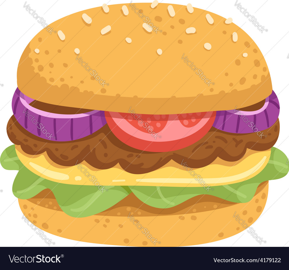 Big juicy burger vector | Price: 1 Credit (USD $1)