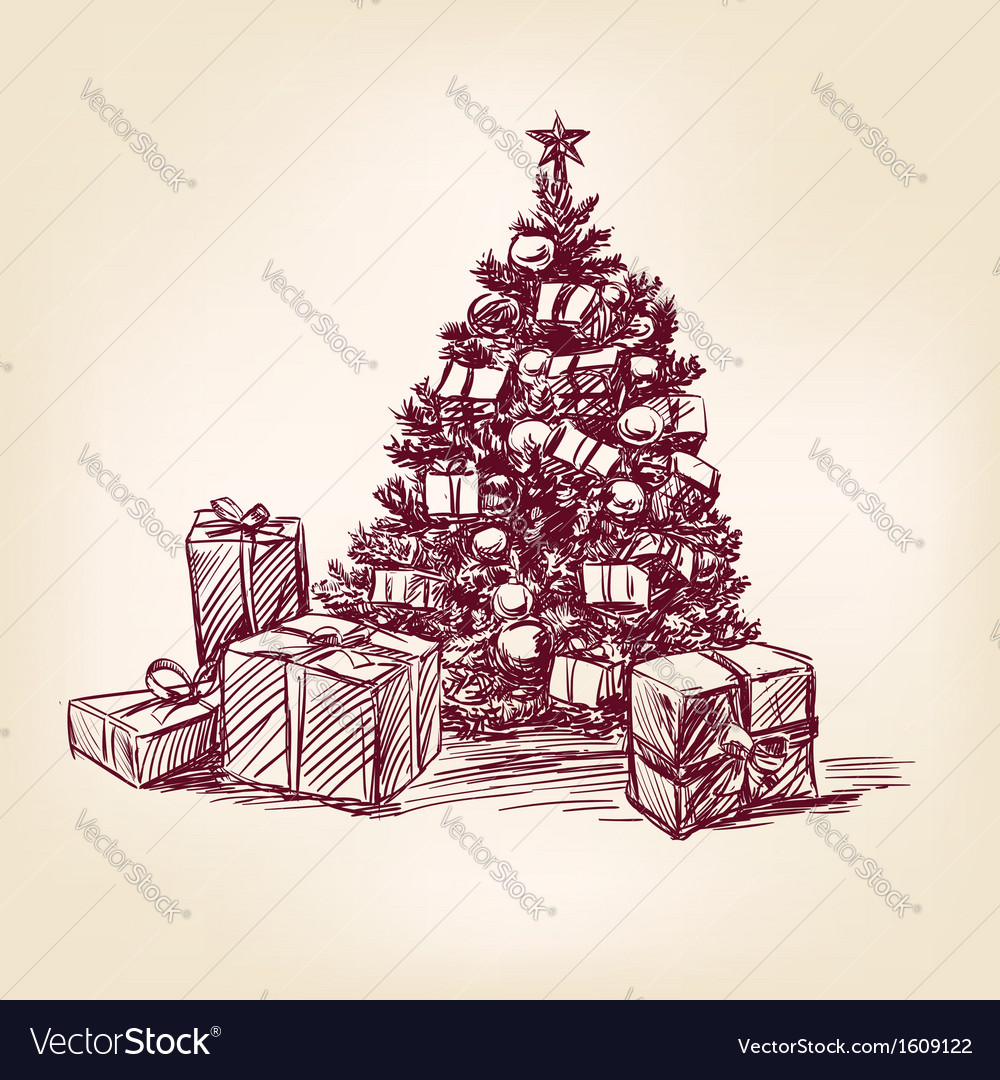 Christmas tree hand drawn vector | Price: 1 Credit (USD $1)