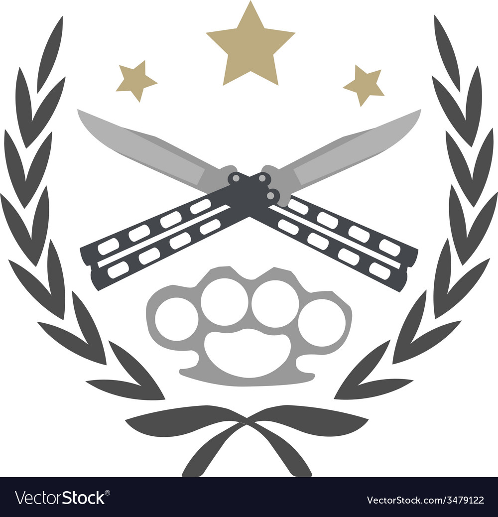 Crossed knifes and brass knuckle emblem vector | Price: 1 Credit (USD $1)
