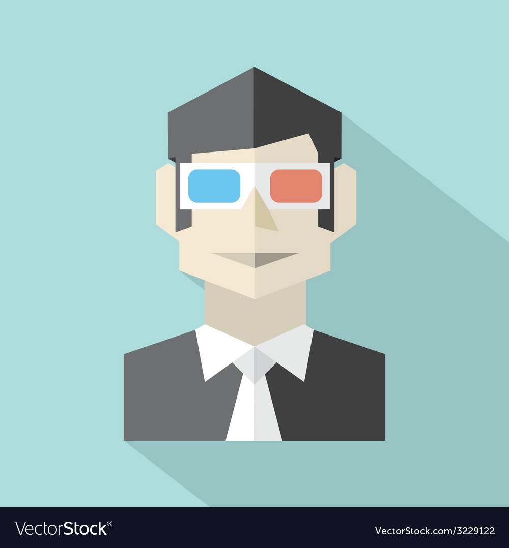 Man wearing 3d glasses icon vector | Price: 1 Credit (USD $1)