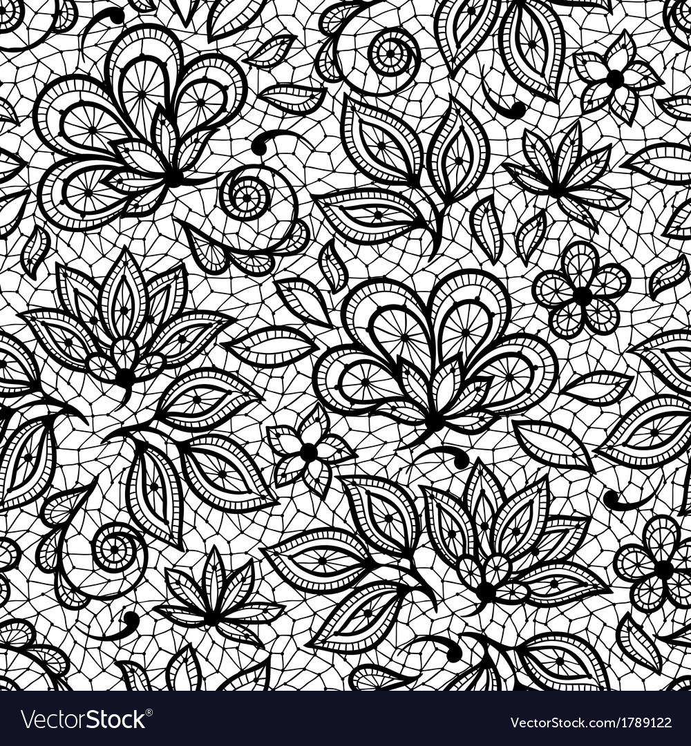 Old lace seamless pattern ornamental flowers vector | Price: 1 Credit (USD $1)