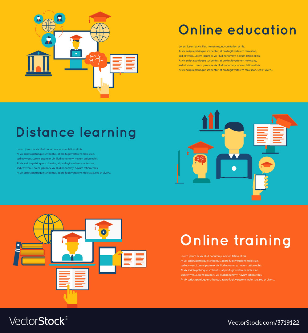 Online education banners set vector | Price: 1 Credit (USD $1)