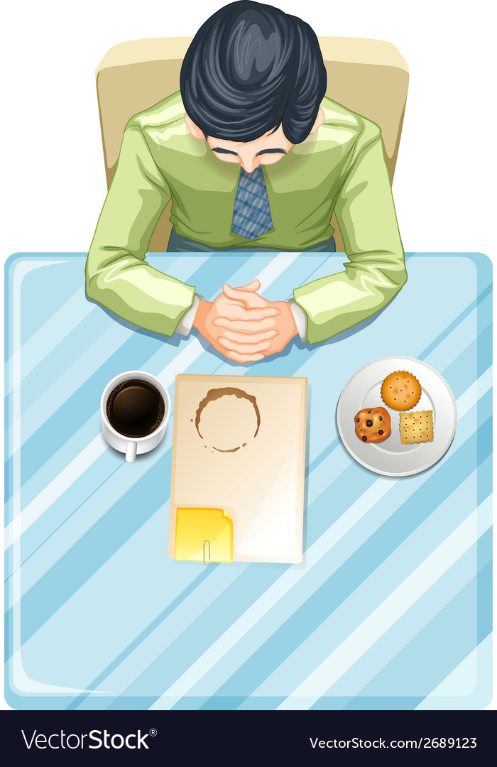 A topview of a man at the table vector | Price: 1 Credit (USD $1)