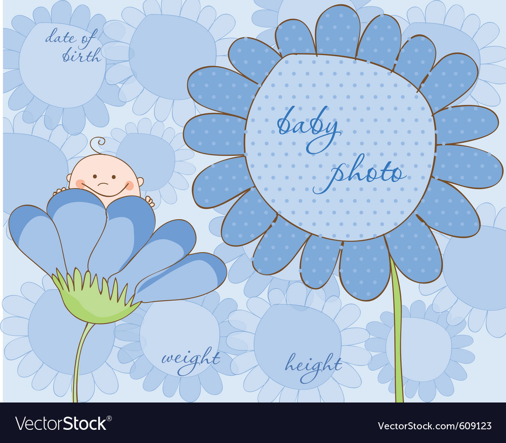 Baby boy arrival frame for photo vector | Price: 1 Credit (USD $1)