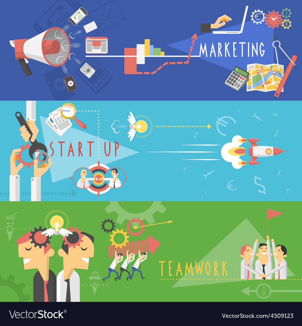 Business marketing flat banners set vector | Price: 1 Credit (USD $1)