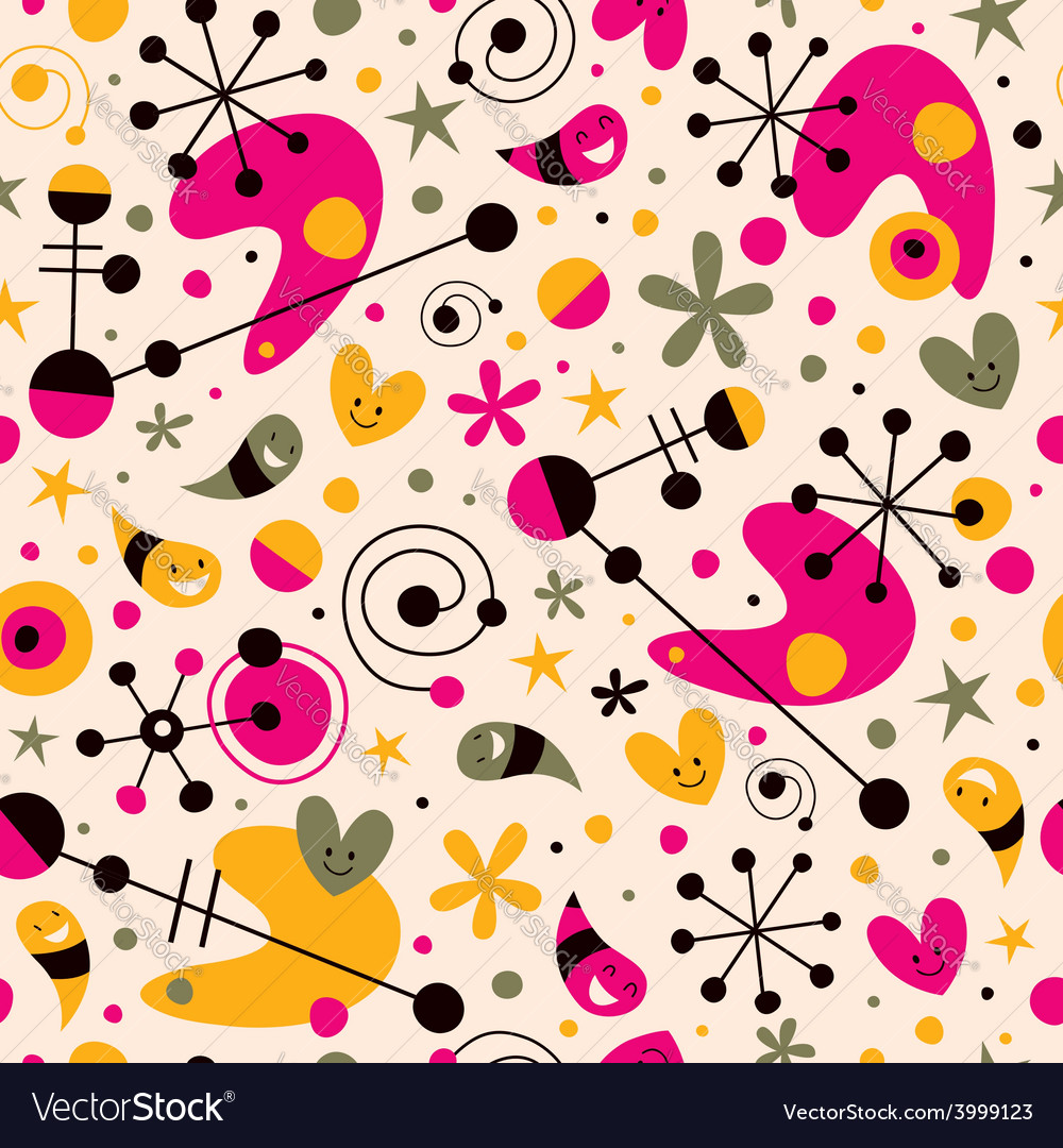 Funky cartoon retro seamless pattern vector | Price: 1 Credit (USD $1)