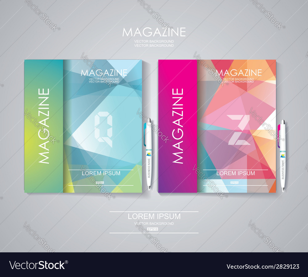 Magazine cover set with pattern of geometric vector | Price: 1 Credit (USD $1)