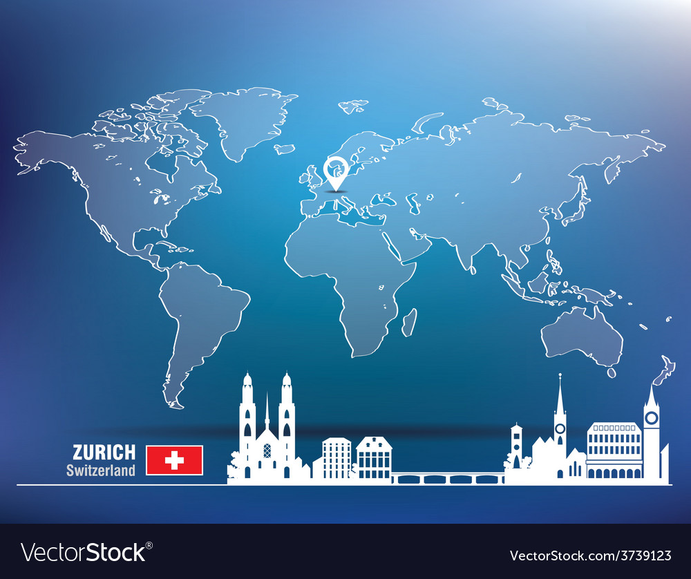 Map pin with zurich skyline vector | Price: 1 Credit (USD $1)