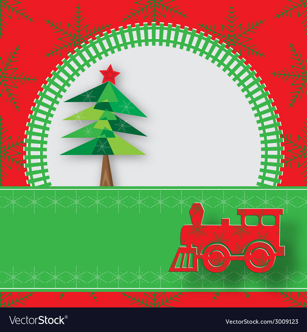 New year image with railway and steam locomotive vector | Price: 1 Credit (USD $1)
