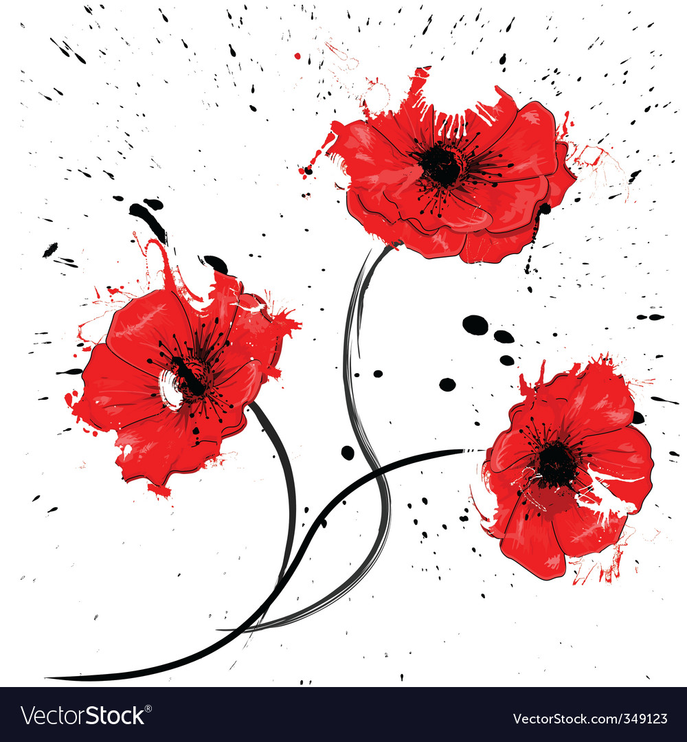 Painted red poppy vector   Price: 1 Credit (USD $1)