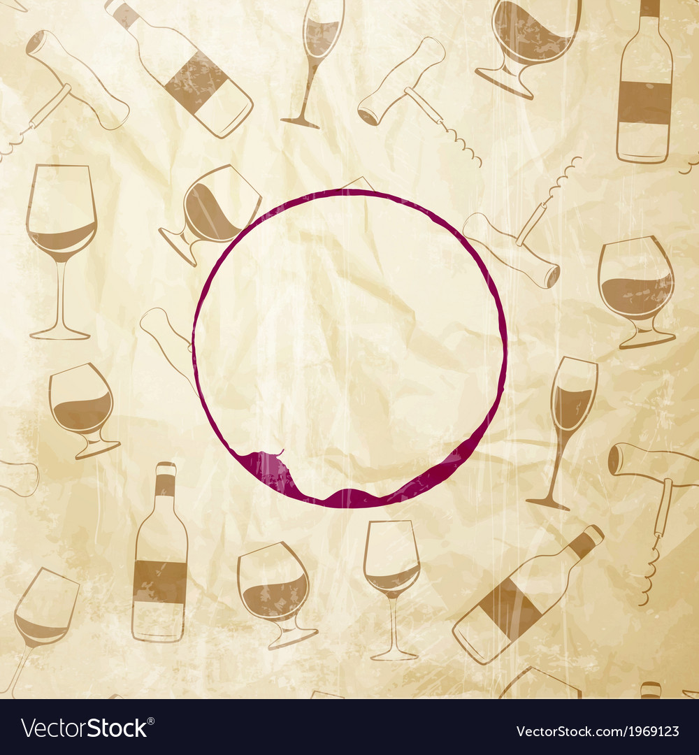 Red wine drops over text paper background vector | Price: 1 Credit (USD $1)