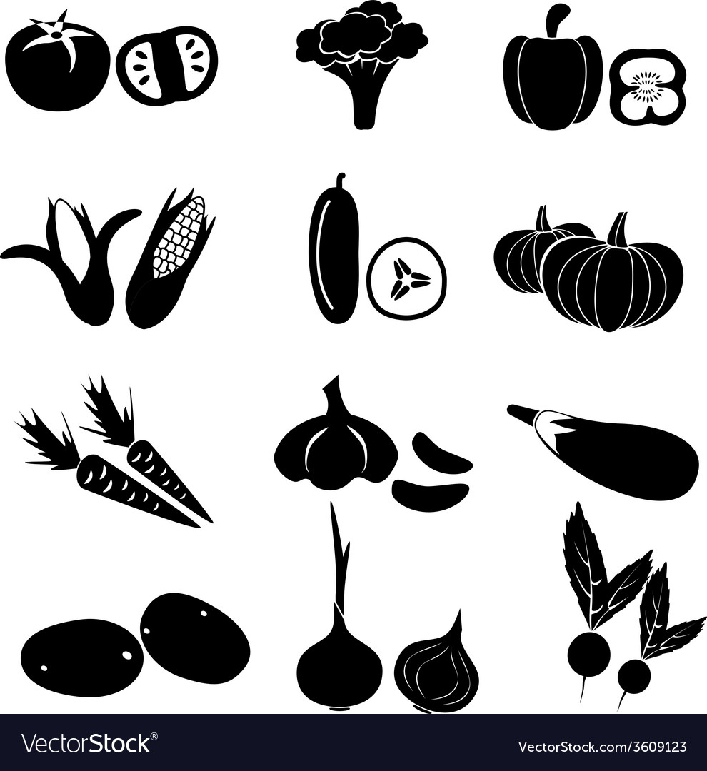 Set of black simple vegetables icons eps10 vector | Price: 1 Credit (USD $1)